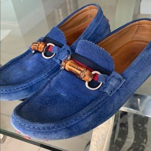Men's Gucci  Blue Suede Bamboo Loafer